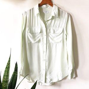 Equipment signature silk shirt light green
